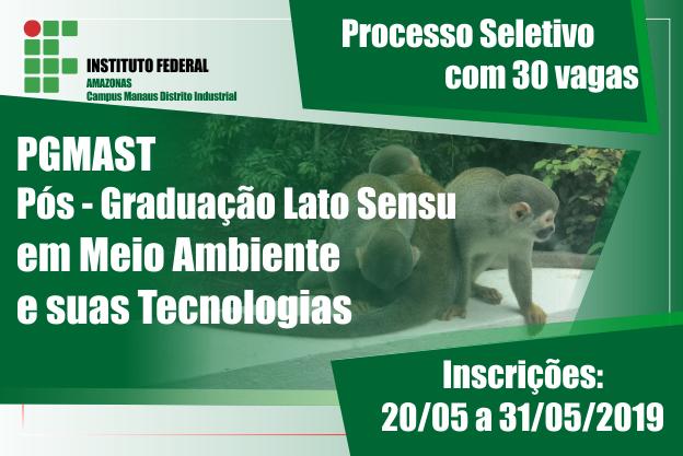 EDITAL Nº05/2019.1- PS do Curso de Pós-Graduação Lato Sensu em MEIO AMBIENTE E SUAS TECNOLOGIAS