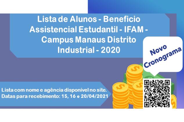 Pagamentos do Beneficio Sócio Assistencial Estudantil ocorrerão nos dias 15,16 e 20 de Abril de 2021