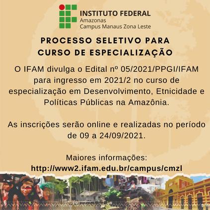 Inscrições para o curso de especialização em Desenvolvimento, Etnicidade e Políticas Públicas na Amazônia