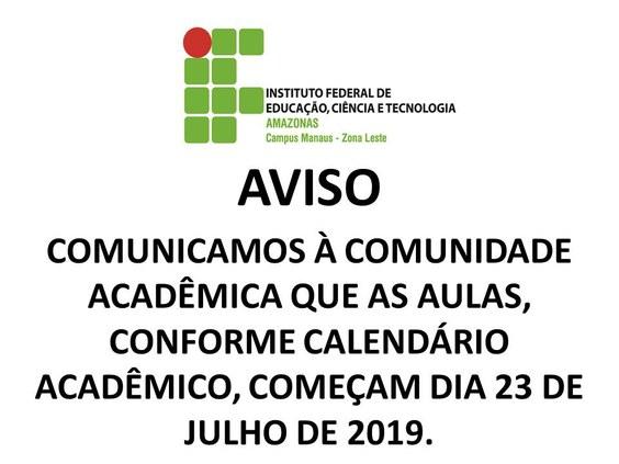 AVISO - CMZL retorna às aulas no dia 23 de julho.