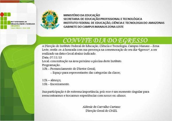 Convite Dia do Egresso do Campus Manaus Zona Leste