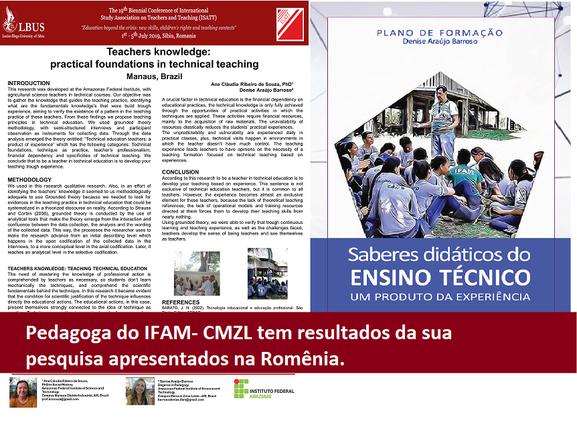 Pedagoga do IFAM-CMZL tem resultados da sua pesquisa apresentados na Romênia.