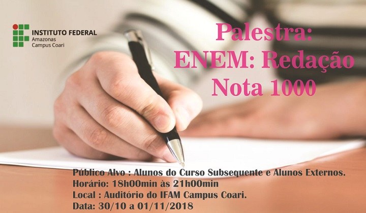 Palestra : ENEM: Caminhos para uma redação nota 1.000