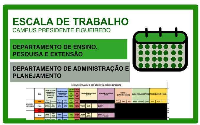 IFAM Campus Presidente Figueiredo divulga escala de trabalho presencial dos servidores durante a pandemia do COVID-19