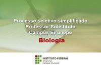 PROCESSO SELETIVO PARA PROFESSOR SUBSTITUTO - BIOLOGIA