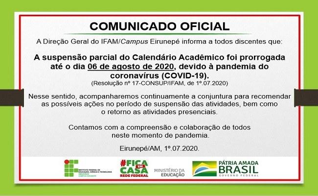 Suspensão parcial do Calendário Acadêmico Prorrogada - IFAM/Campus Eirunepé