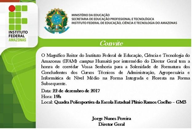 Convite de Formatura 2017 - Campus Humaitá