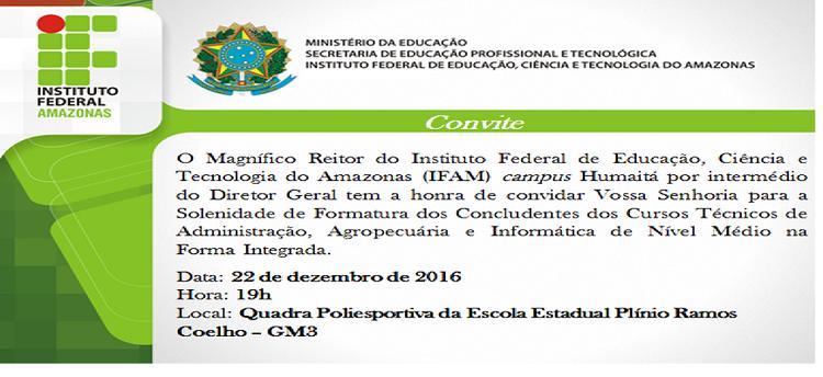 Convite Formandos Humaitá 2016