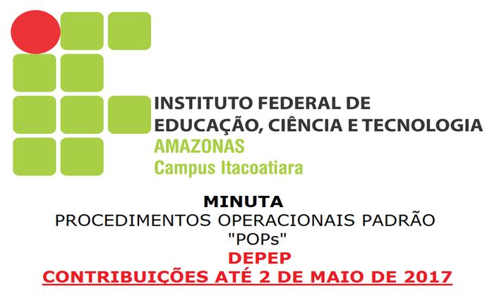 Contribuições para a Minuta de Procedimentos Operacionais Padrão do IFAM Itacoatiara