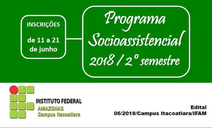 Seleção para o Programa Socioassistencial Estudantil 2018/2 do IFAM Itacoatiara