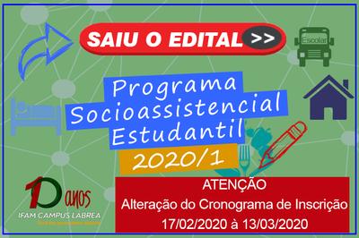 Campus Lábrea torna público Alteração do Cronograma do Processo de Seleção para o PAES do 1º semestre de 2020.