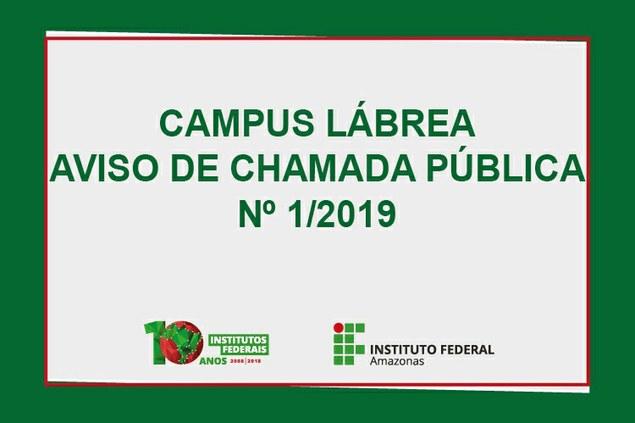 AVISO DE CHAMADA PÚBLICA Nº 1/2019