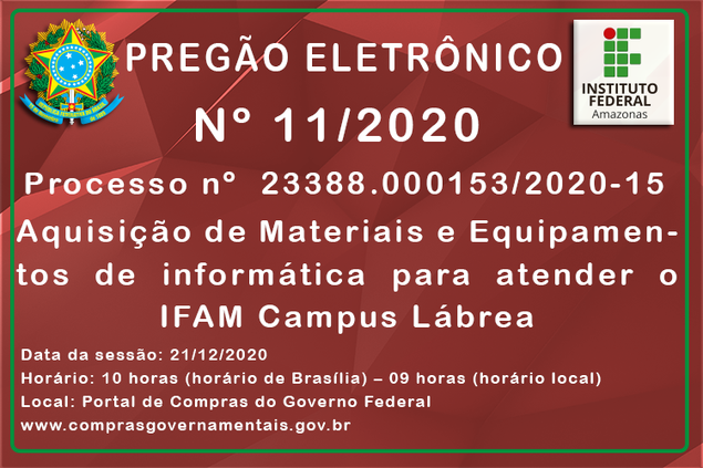Aviso de Licitação, Pregão Eletrônico Nº 11/2020