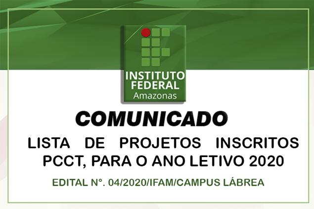 Campus Lábrea Divulga Lista de Projetos Inscritos PCCT 2020