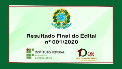 O Resultado Final do Edital N. 001/2020, trata do processo de seleção para realização de PCCT's