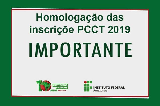 Homologação das inscrições PCCT 2019