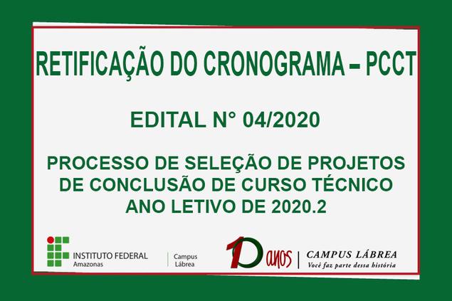 Retificação do Cronograma – PCCT, Edital Nº 4/2020