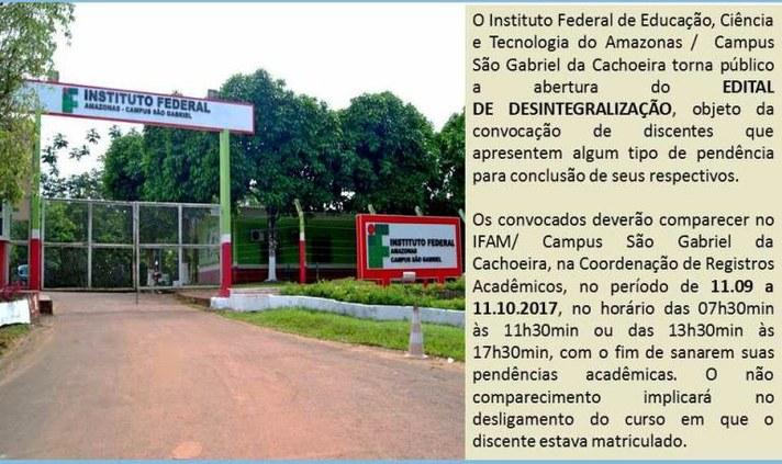 Edital nº 06-2017-IFAM/Campus São Gabriel da Cachoeira - Desintegralização.