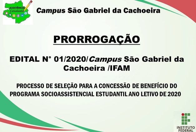 Prorrogação - Edital nº 01/2020 - Programa Socioassistencial Estudantil.