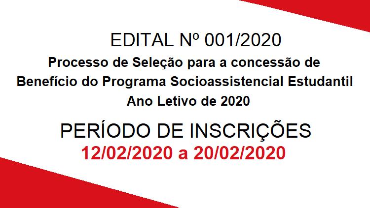 Edital do Processo de Seleção do Programa Socioassistencial Estudantil 2020