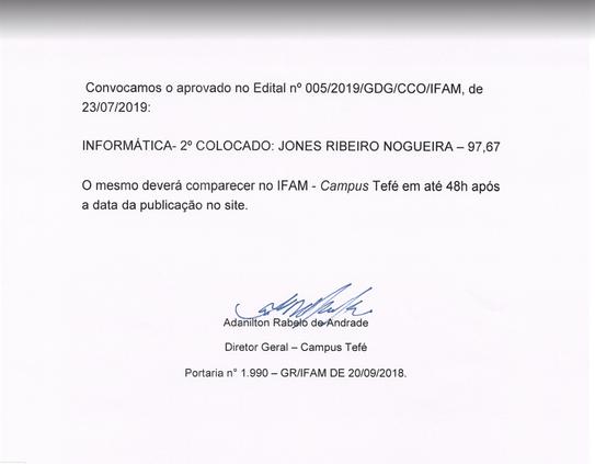 Edital nº 005/2019 Campus Coari - Convocação