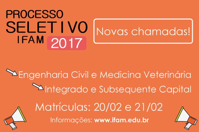Processo seletivo 2017/1: Chamadas para Graduação, subsequente e Integrado