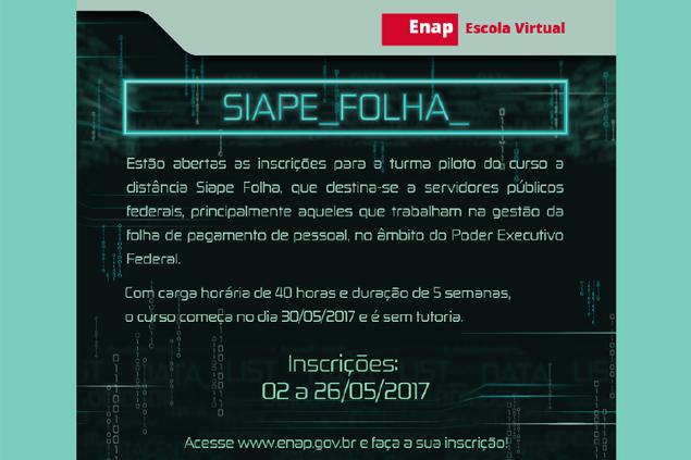 Inscrições abertas para curso a distância Siape Folha