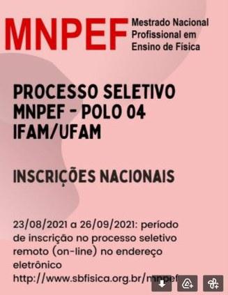 Inscrições abertas para Mestrado em Física no Polo 04 - IFAM/UFAM